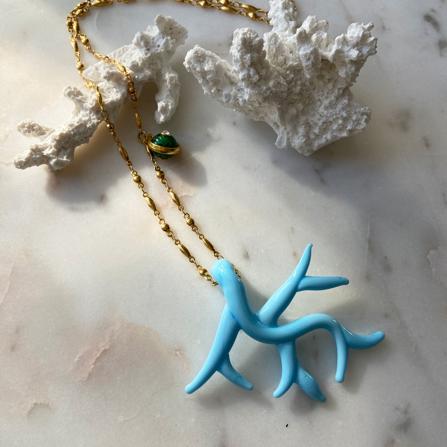 Light Blue Murano coral chain pendant necklace katerina psoma instagram