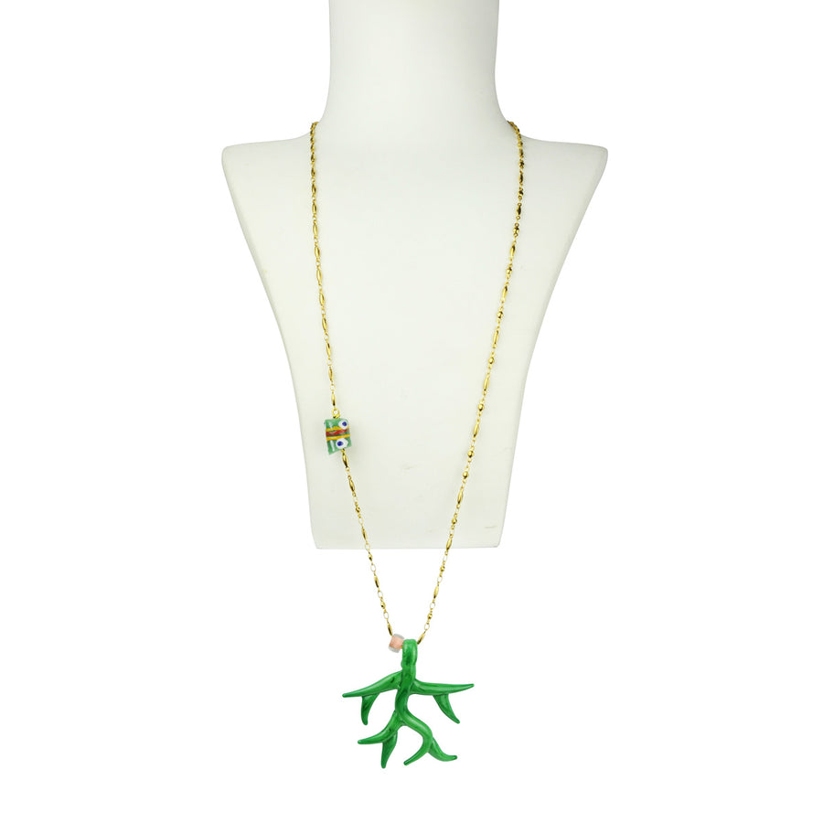 Katerina psoma Green Murano Chain Pendant Necklace detail