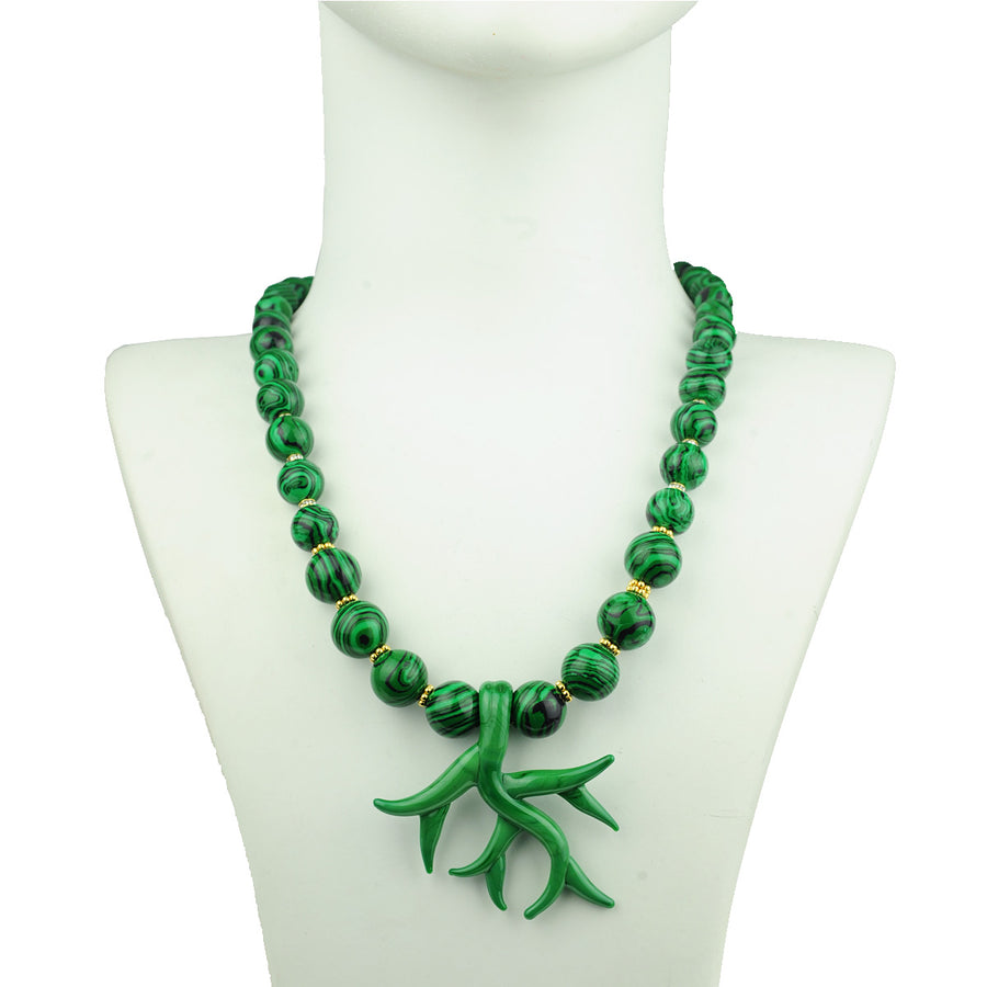 Katerina Psoma Murano Necklace with Malachite detail