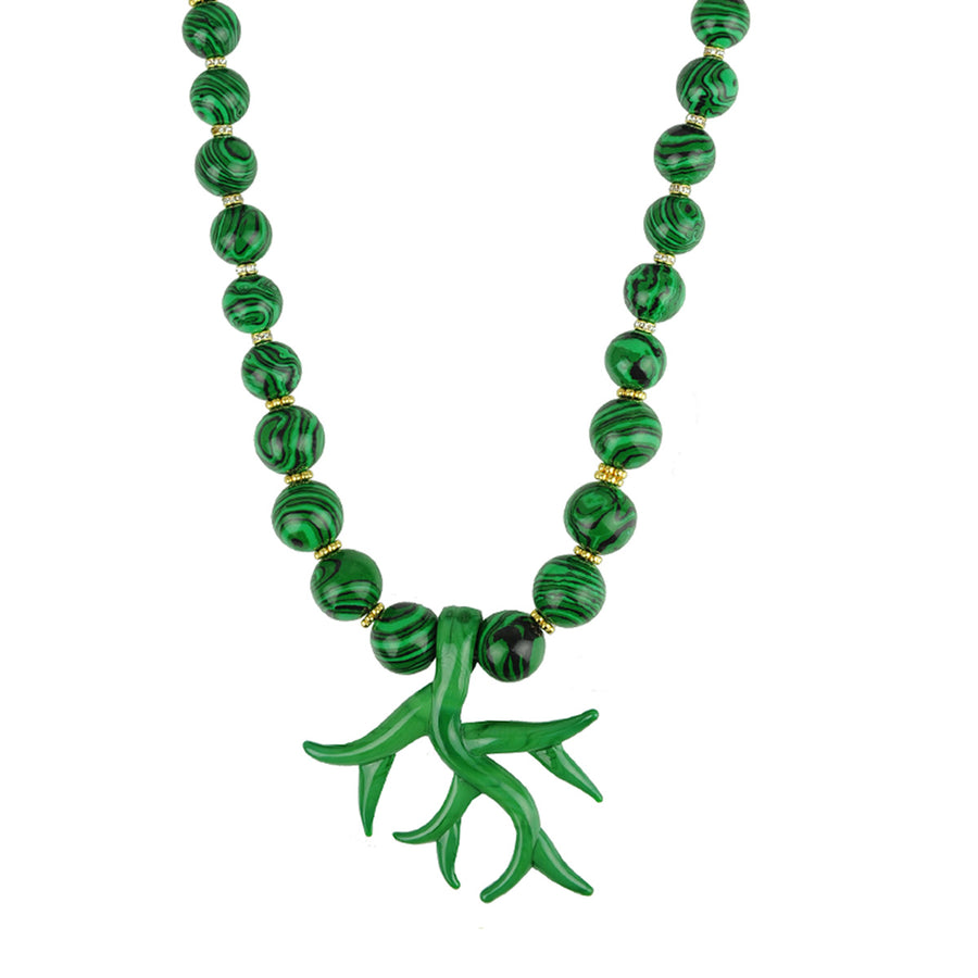 Katerina Psoma Murano Necklace with Malachite semiprecious stones