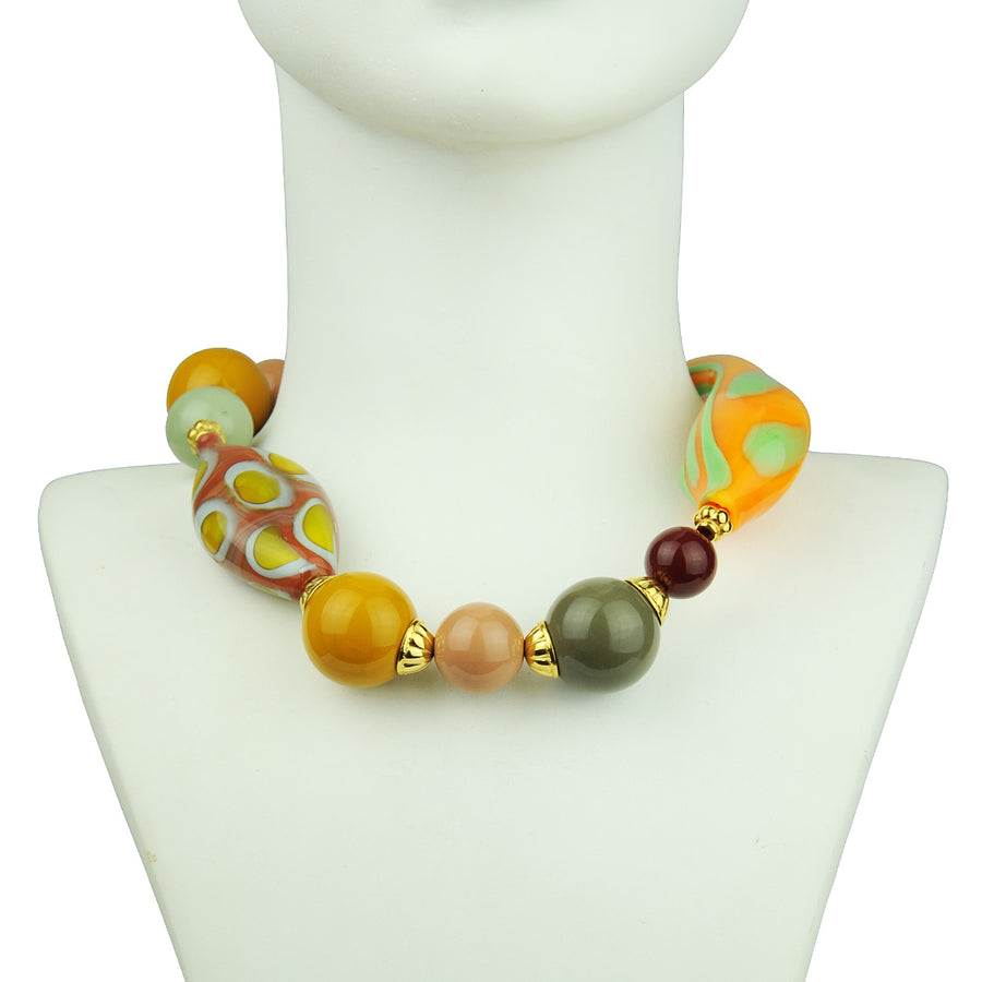 Katerina Psoma Yellow Murano Short Statement Necklace bust