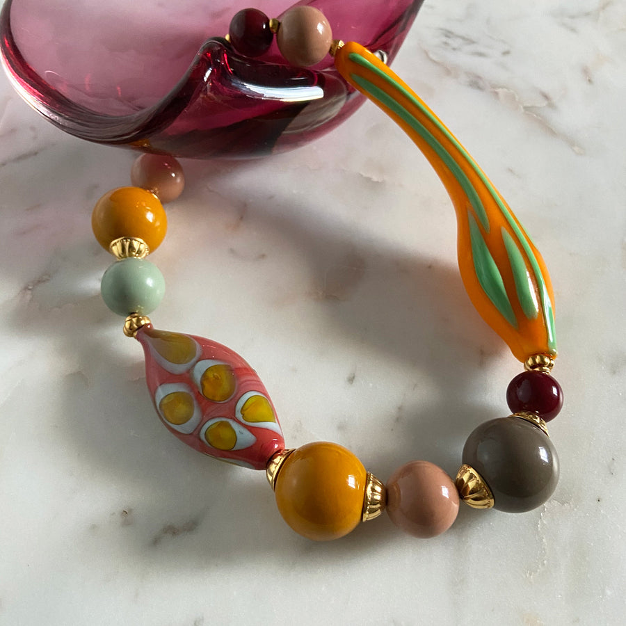 Katerina Psoma Yellow Murano Short Statement Necklace