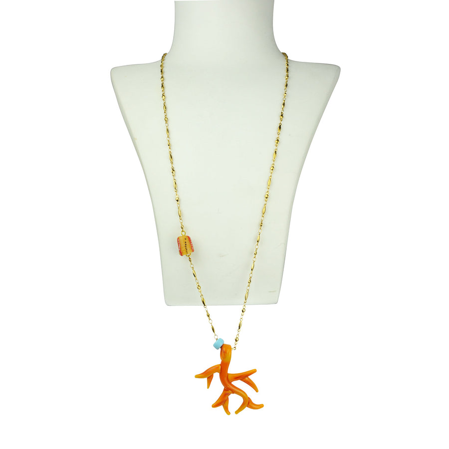 Katerina Psoma Orange Murano Chain Pendant Necklace bust