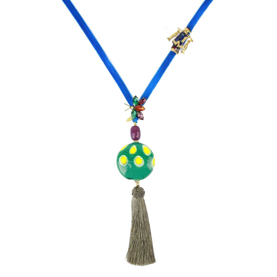 Murano Bead and Tassel Long Necklace