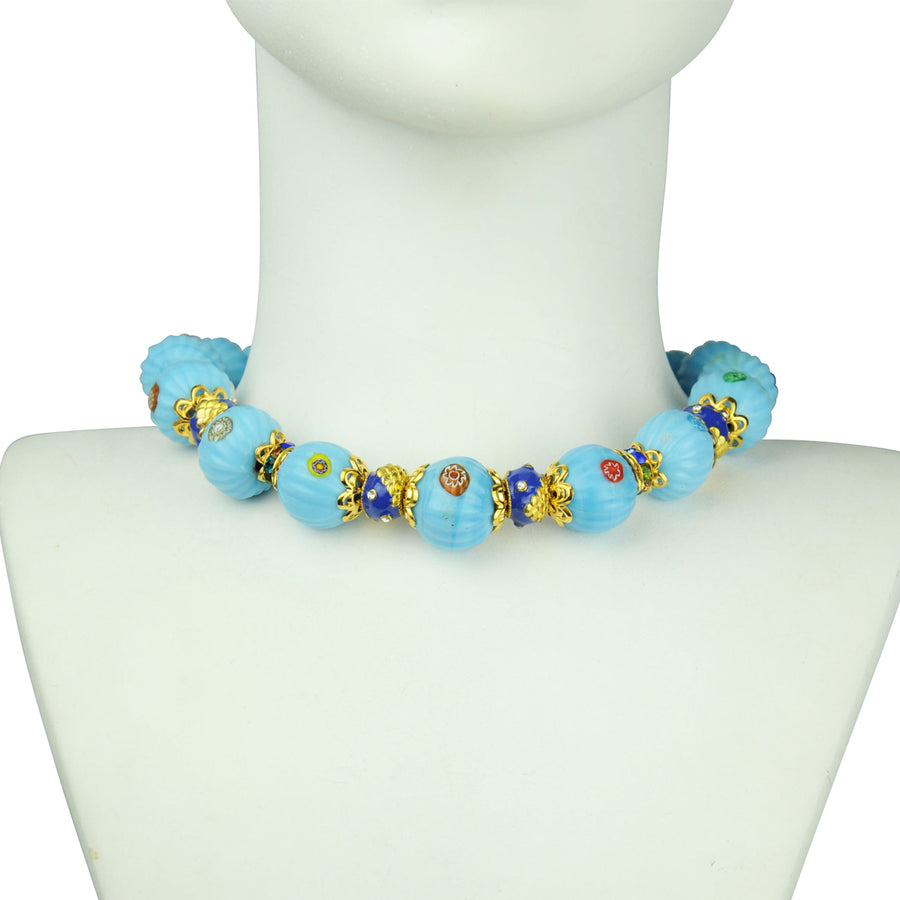 Katerina psoma Turquoise Short Necklace with Enamel Beads costume jewelry