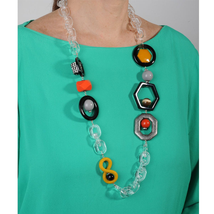 Acrylic Chain and Yellow Element Long Necklace katerina psoma