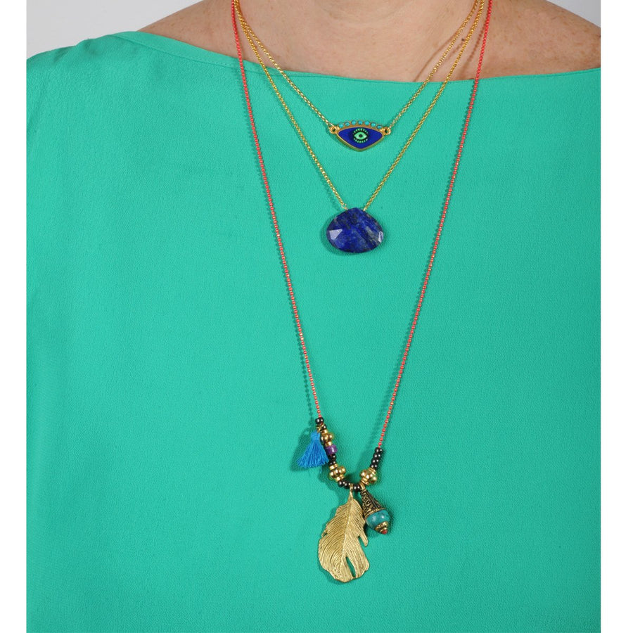 Lapis Lazuli Drop short gold plated 925 silver Necklace katerina psoma