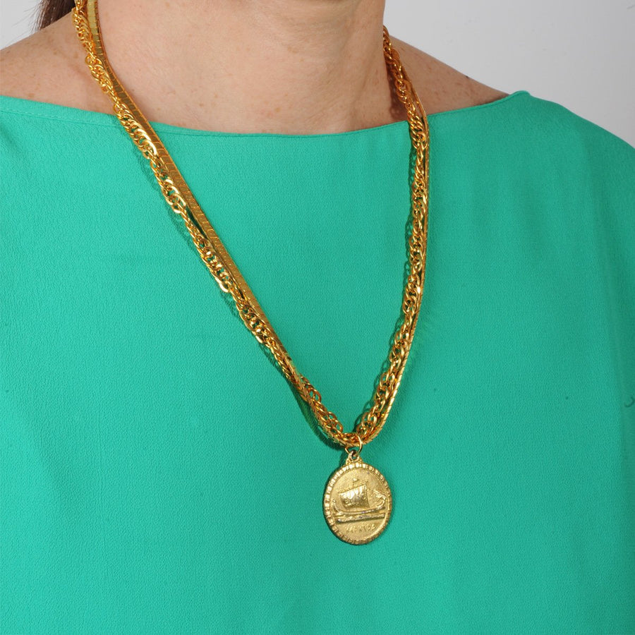 Short gold plated Chain Necklace With Vintage Medallion katerina psoma