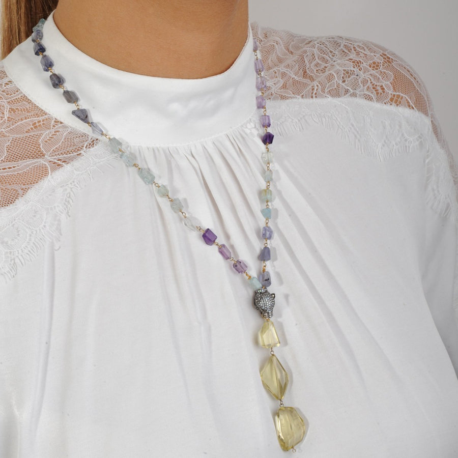 Necklace with Semiprecious stones and Lime Quartz katerina psoma
