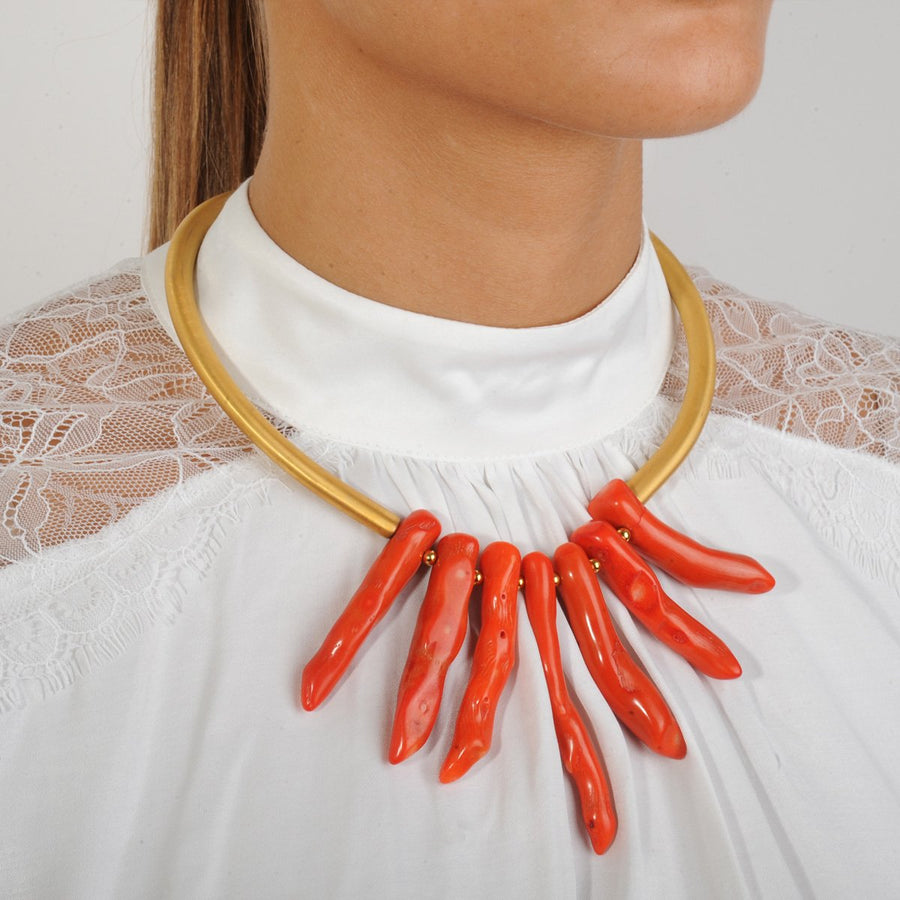 Coral Gold Plated Metal Collar Statement Necklace Katerina Psoma