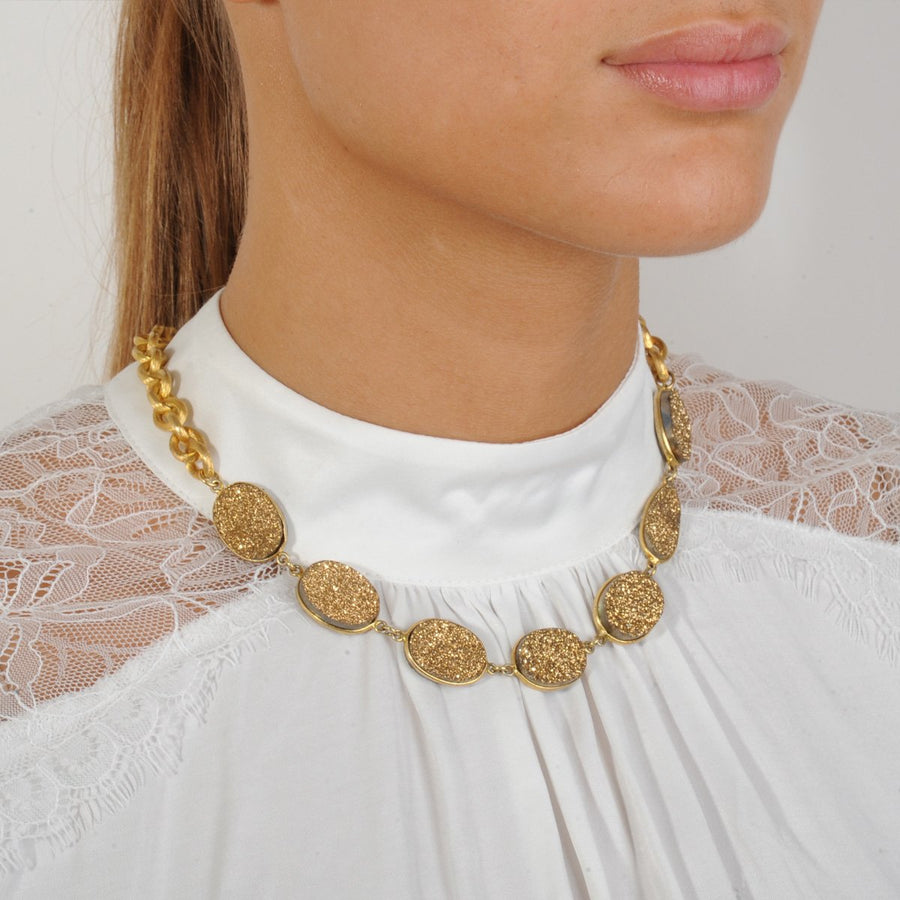 Gold Druzy Agate Short Chain Necklace katerina psoma