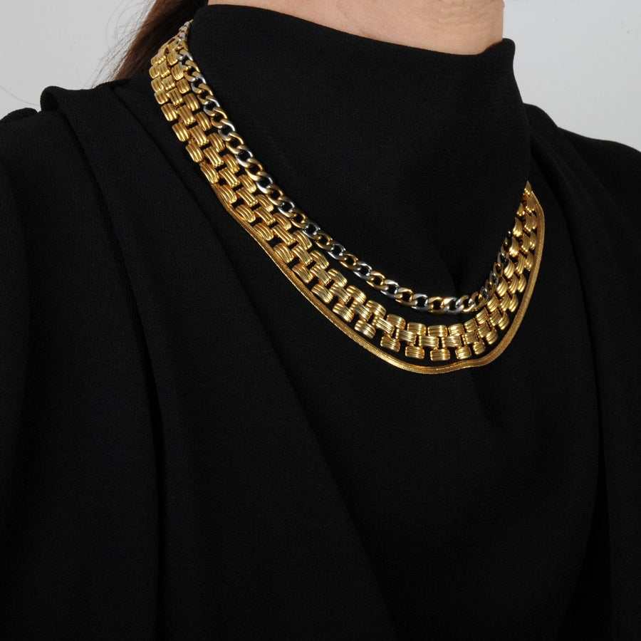 Short Triple Vintage gold plated Chain Necklace katerina psoma