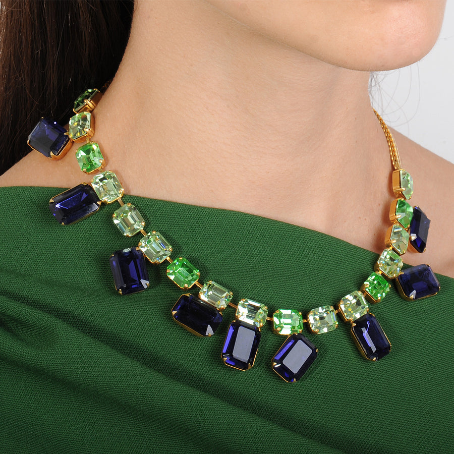crystal short necklace blue and green katerina psoma detail