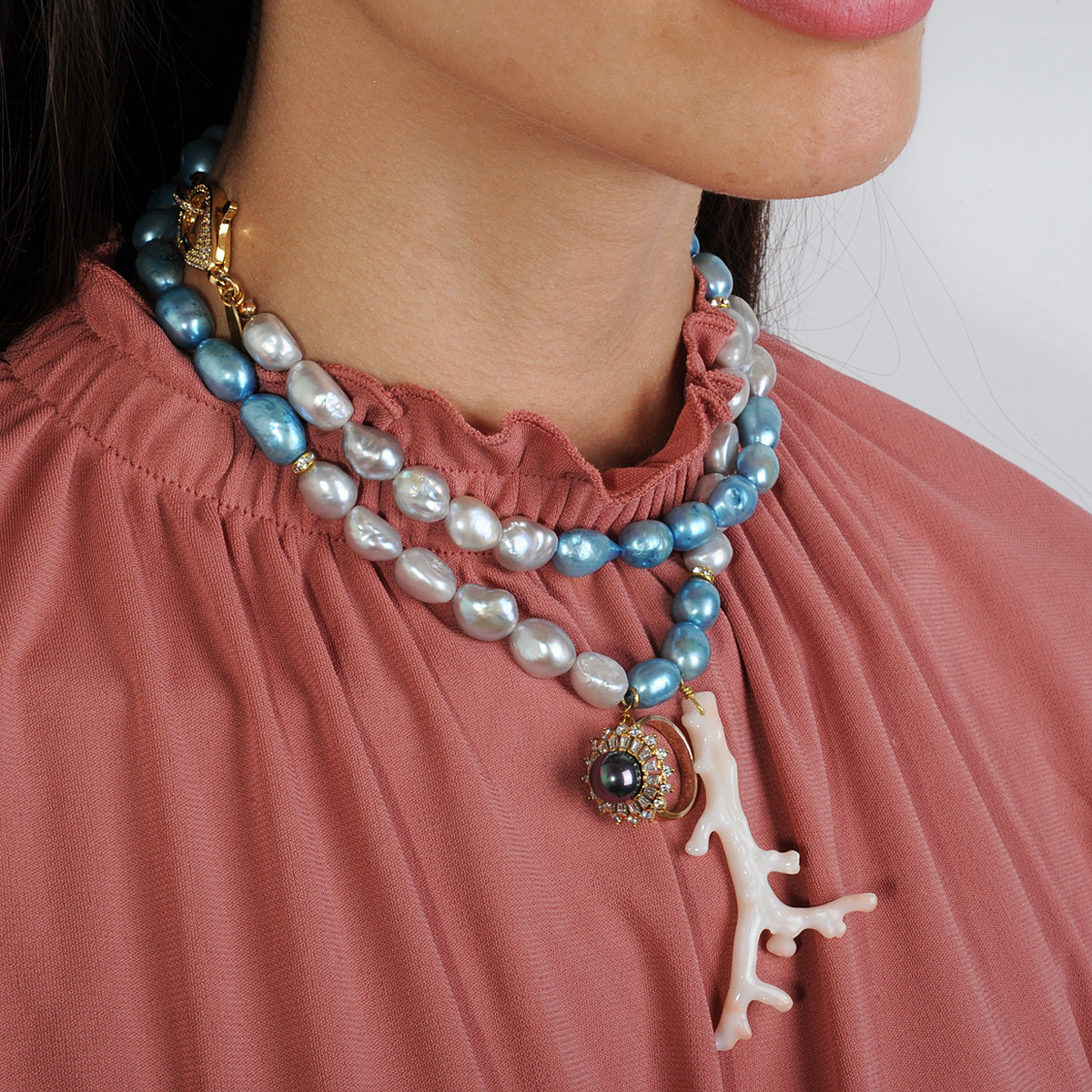 Long necklace with fresh water pearls grey blue a coral and vintage crystal ring katerina psoma double wrapped worn as short