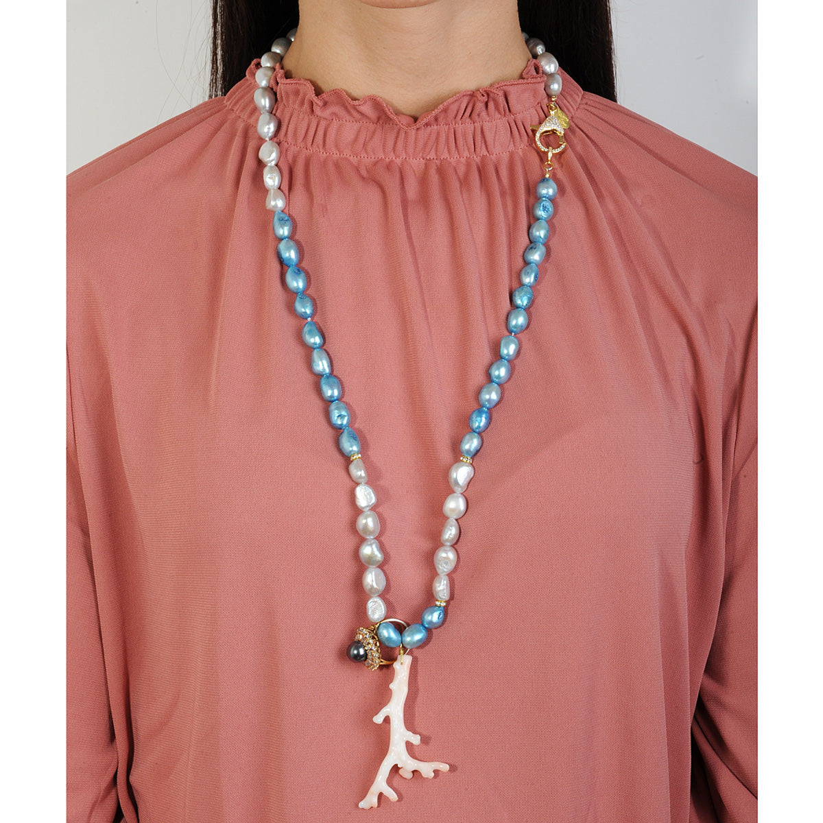 Long necklace with fresh water pearls grey blue a coral and vintage crystal ring katerina psoma on model