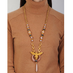Long chain necklace with elephant pendant and beige agate drop katerina psoma on model