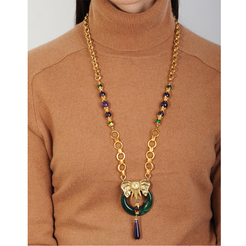 Long chain necklace with elephant pendant and amethyst drop katerina psoma on model