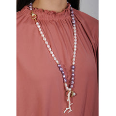 long necklace with paste fresh water pearls, pink coral and vintage ornaments katerina psoma on model