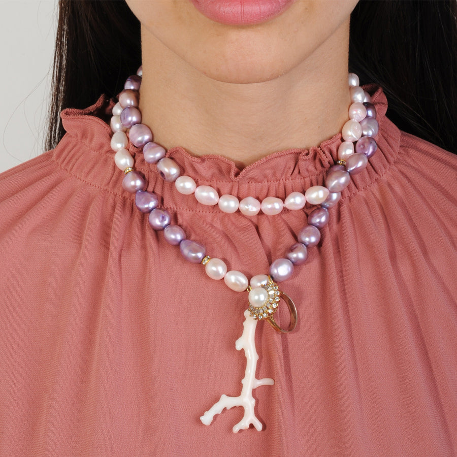 long necklace with paste fresh water pearls, pink coral and vintage ornaments katerina psoma worn double row short