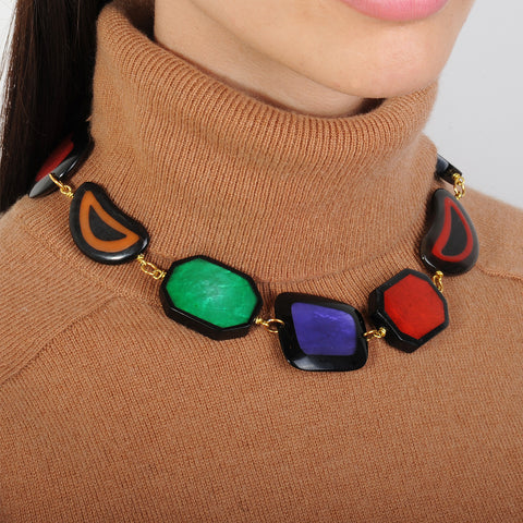 short daywear statement necklace with multicolored resin slabs katerina psoma