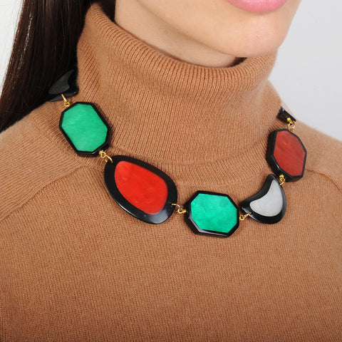 short statement necklace with multicolored resin slabs katerina psoma