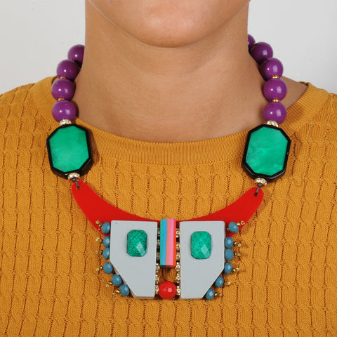 short necklace with multicolored resin beads and green acrylic katerina psoma model