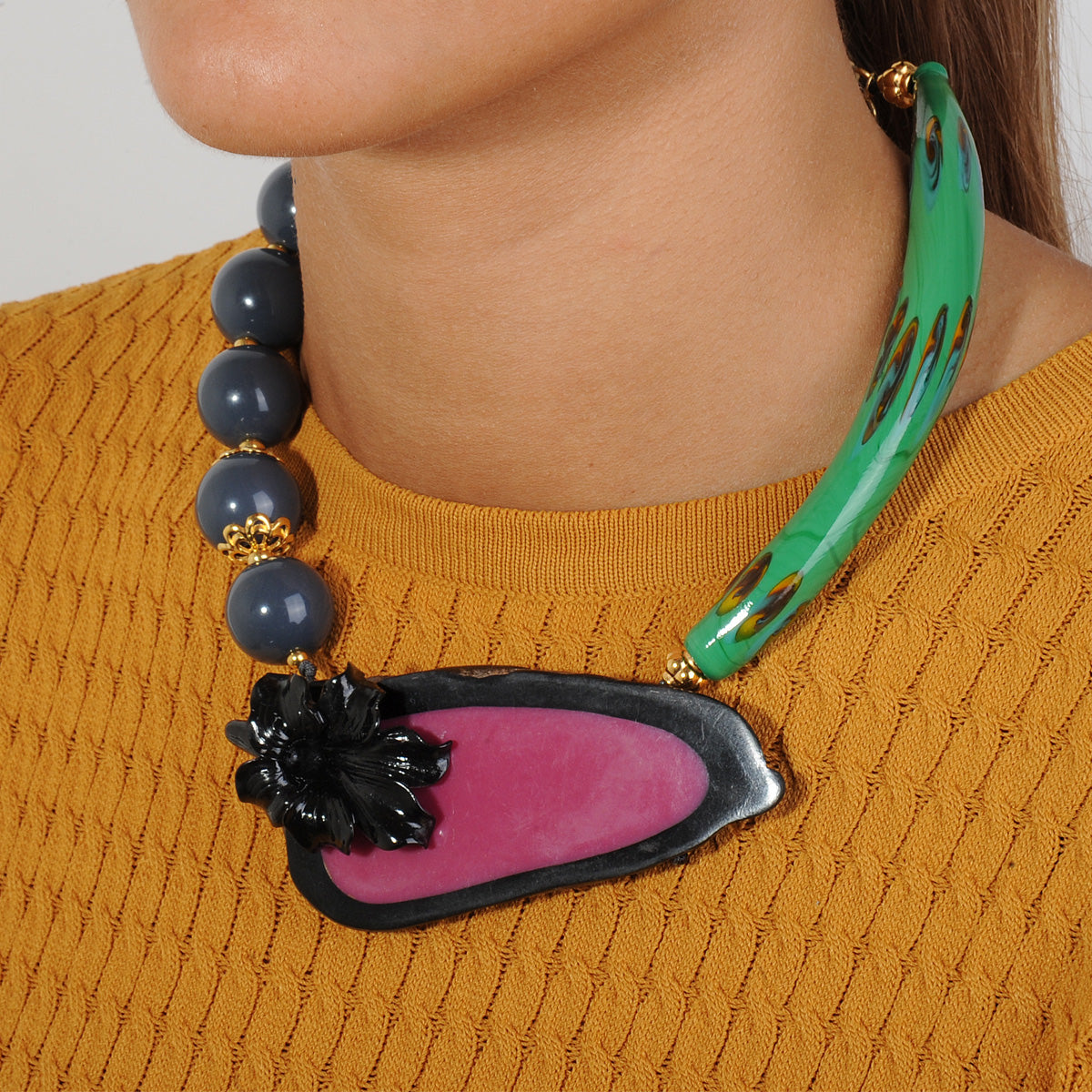 shortstatement necklace with green murano and blue acrylic beads katerina psoma