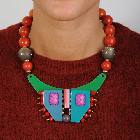 short statement necklace with multicolored resin, orange beads and green acrylic katerina psoma