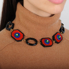 Katerina Psoma Red Resin Short Necklace with Vintage Green Cabochons