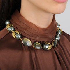 short necklace with grey pearls and labradorite katerina psoma on model