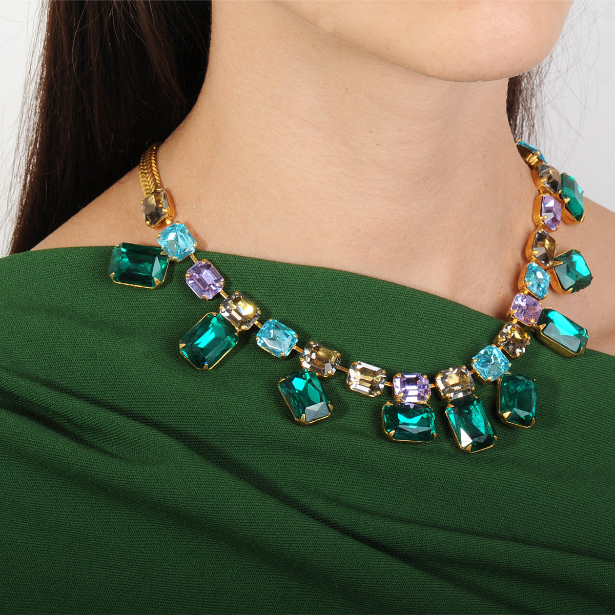 multicolored crystal and gold plated metal statement short necklace  katerina psoma