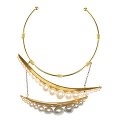 Eclipse White and Grey Pearl Gold Plated Metal Collar Necklace