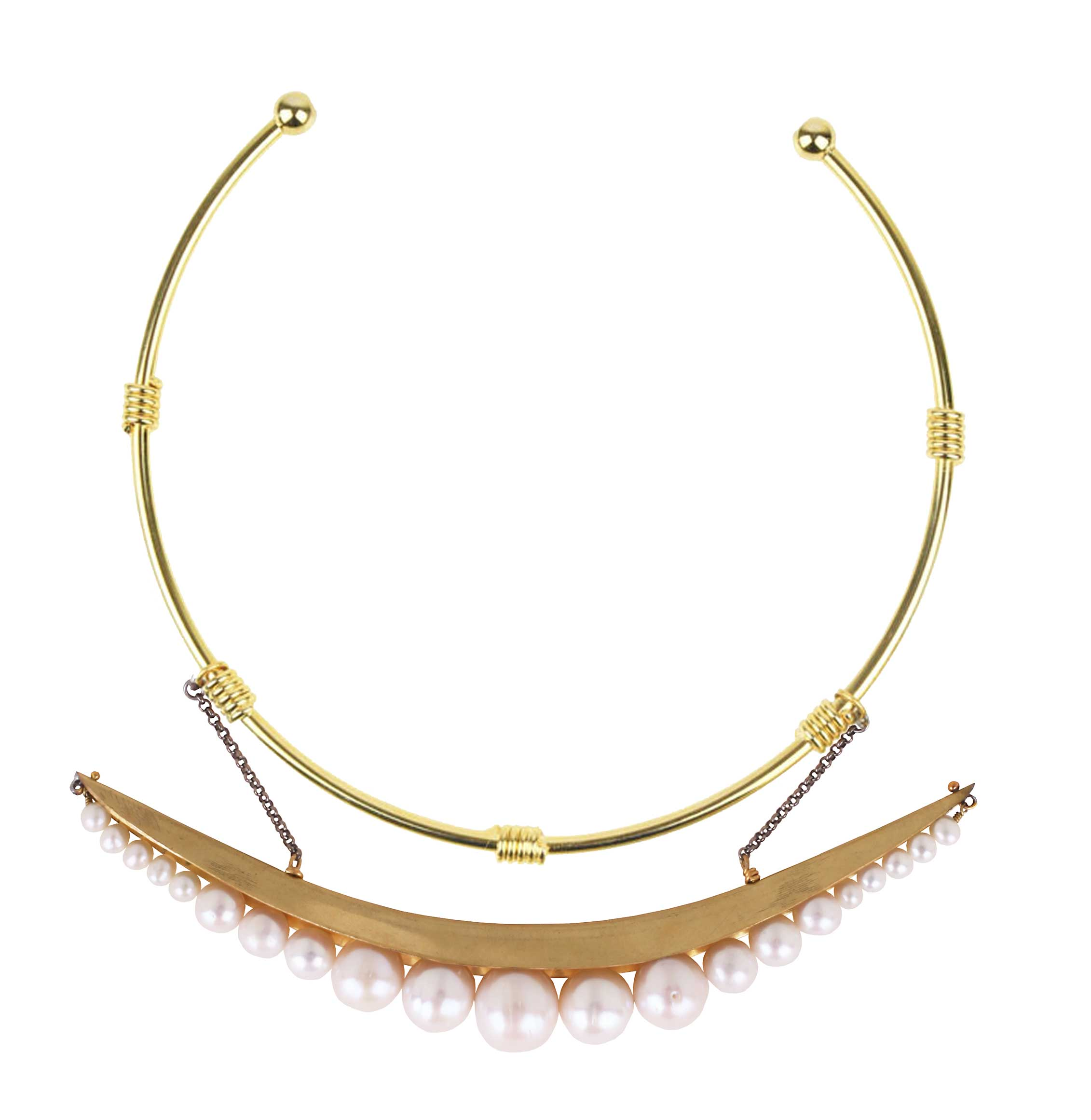 Eclipse White Pearls and Gold Plated Metal Collar Necklace