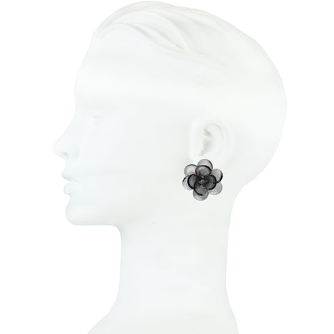 Sylvia Transparent Flower Clip Earrings