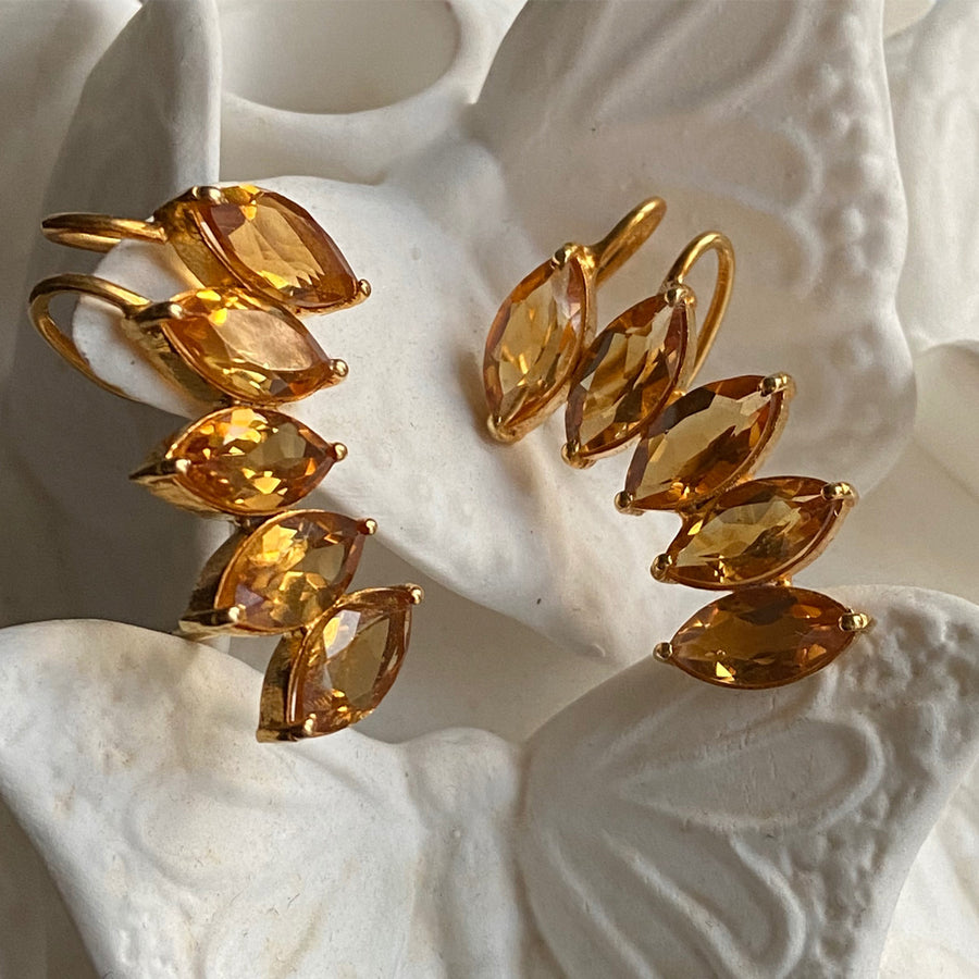 faceted Citrine Cuff Earrings Katerina Psoma fine jewlery