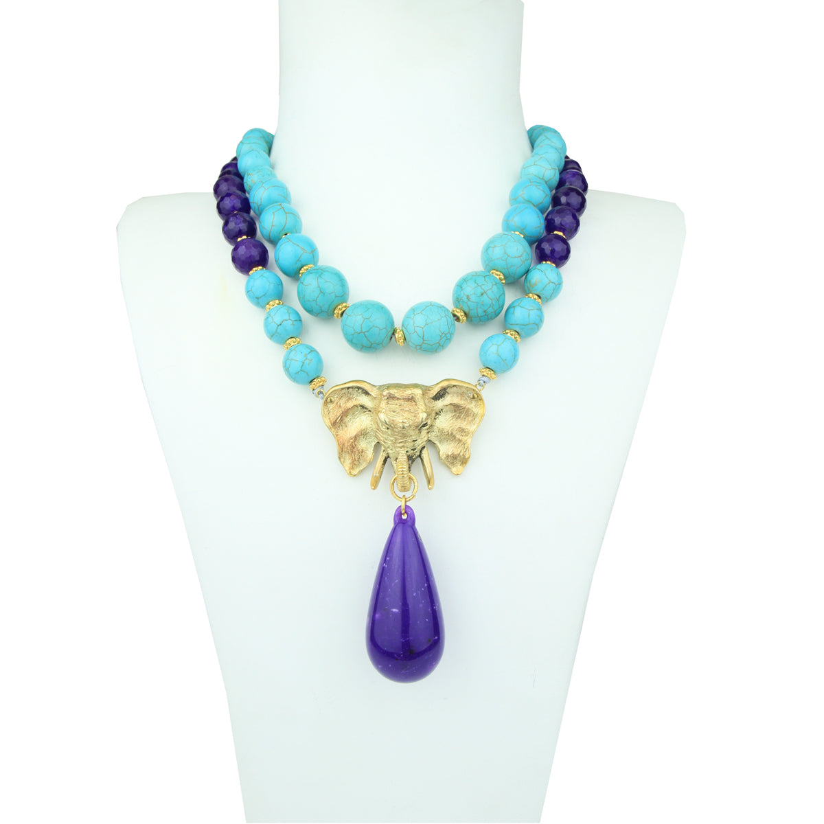 short chunky turquoise necklace katerina psoma