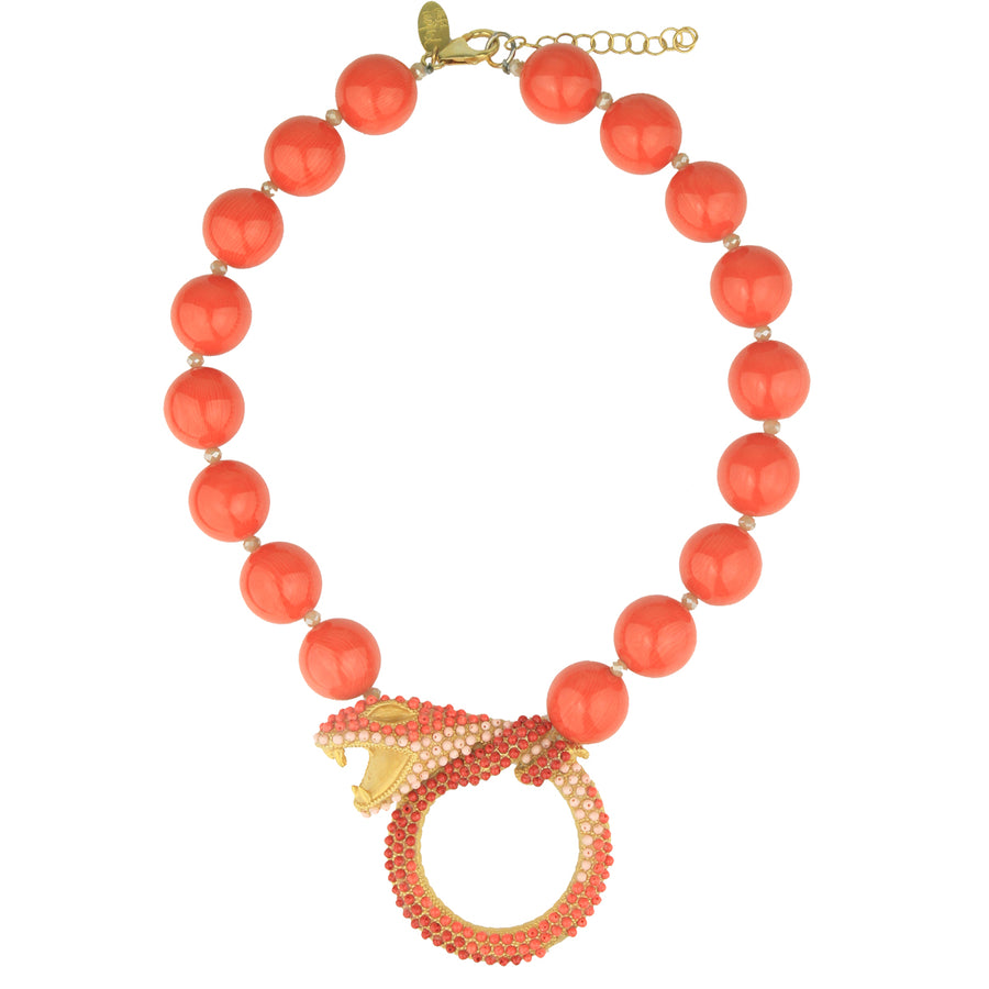 Short coral necklace with metal snake katerina psoma
