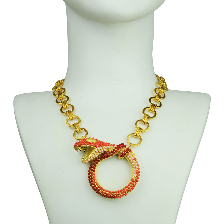 boho Coral snake metal necklace with chain katerina psoma