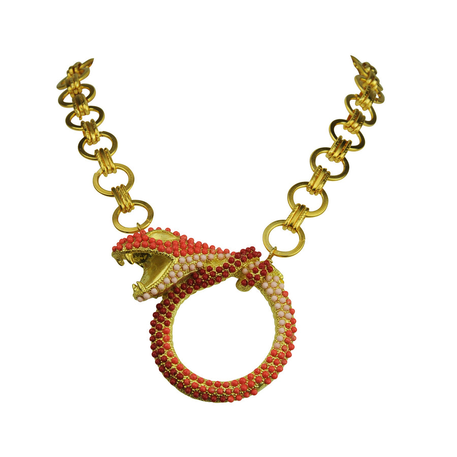 Coral snake metal necklace with chain katerina psoma