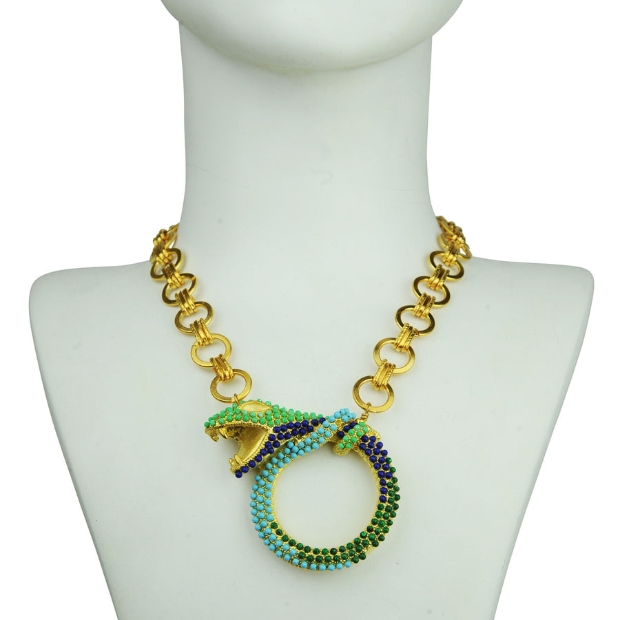 boho turquoise snake metal necklace with chain katerina psoma