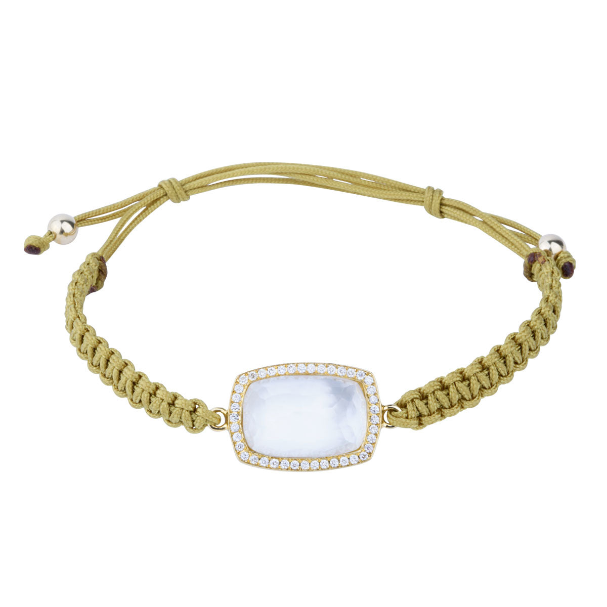 Oceanid 18 kt Gold Bracelet with Diamonds, Mother of Pearl and Crystal Quartz