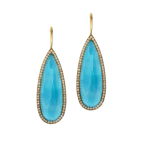 Oceanid 18 kt Gold Earrings with Turquoise and Crystal Quartz