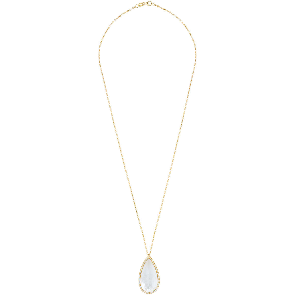Oceanid 18 kt Gold Pendant with Diamonds, Mother of Pearl and Crystal Quartz