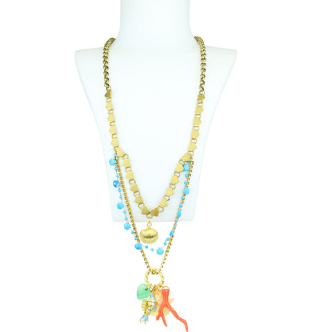 Lola Resin Orange Coral and Chaolite Long Necklace