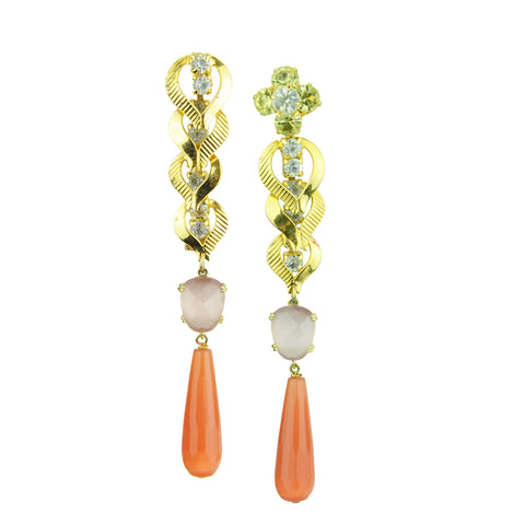 Betty Orange Cat's Eye Drop and Cat's Eye Slab Earrings