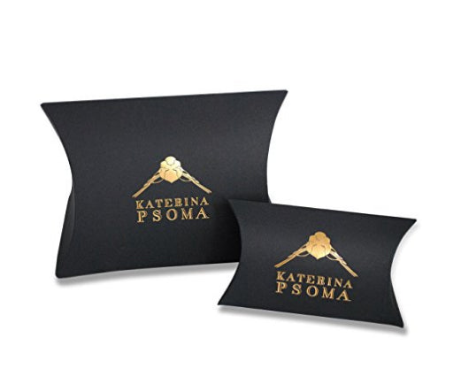 gold plated clip earrings with  black stingray drops katerina psoma packaging