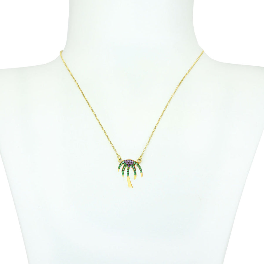 Palm Tree Gold Plated 925 Sterling Silver Chain Short Necklace