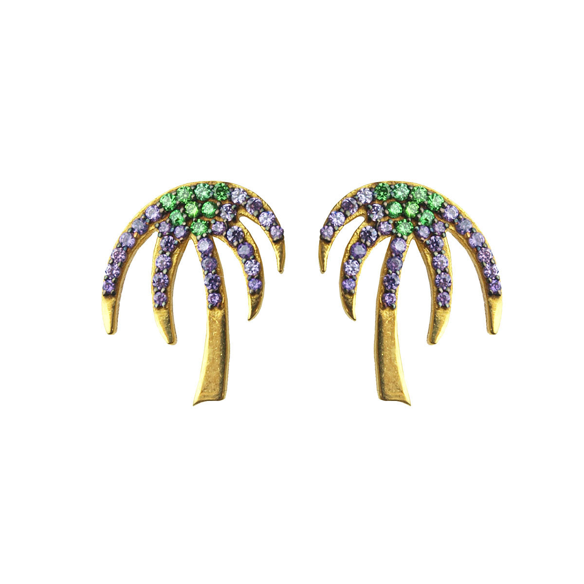 Palm Tree Gold Plated 925 Sterling Silver Stud Earrings