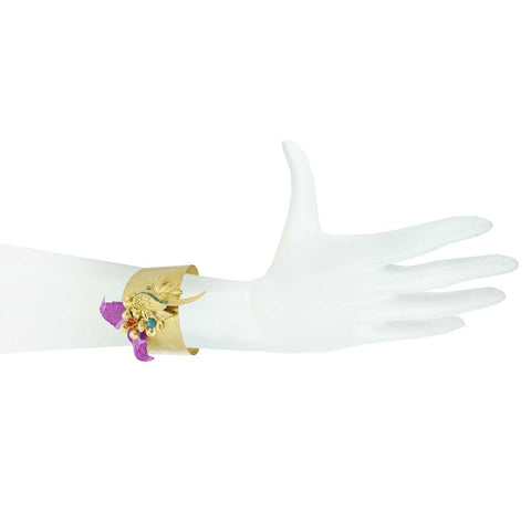 Gold Plated Metal Parrot Cuff Bracelet