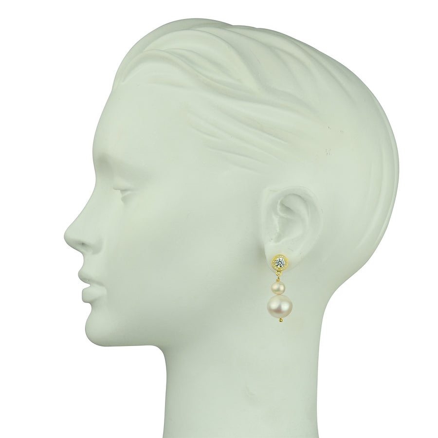 Katerina Psoma White Pearl Earrings 925 sterling silver gold plated
